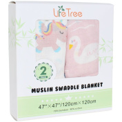 "Swaddling & Receiving Blanket for Girls by LifeTree - ""2 Pack Unicorn & Swan"" Bamboo Cotton Swaddle Wrap, Nursing Cover & Burping Cloth - Large Summer Baby Muslin Blanket"