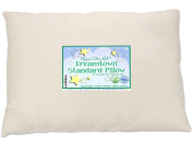 Dreamtown Kids Standard Size Pillow with Organic Cotton Shell 20x26 Tan, Stuffed To Be Slim For Kids And Stomach Sleepers, Made In USA