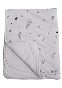 Baby Crib Blanket 100% Organic Cotton, Skin Safe Organic Fabric, Grey - Galaxy Star