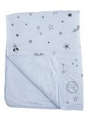 Baby Crib Blanket 100% Organic Cotton, Skin Safe Organic Fabric, Blue - Galaxy Star