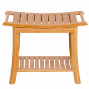 Giantex Bamboo Shower Bench Bathroom Seat Spa Bath Organiser Stool Storage Shelf