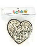 Playside Creations VBS and Camp Crafts, Wood Jesus Loves Me Heart, Natural, 12 Count