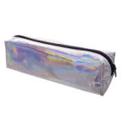Aisa Girl Fashion Glossy Hologram Laser Cosmetics Storage Bag Student Emboss Skull Pencil Case Holder Stationery Box Silver