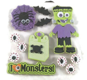 Halloween Monsters Foam 3d Stickers with Wiggle Eyes