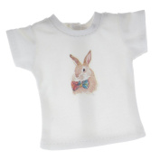 MagiDeal Fashion Rabbit Printed T-shirt 1/6 Clothes Short Sleeve Round Neck for 30cm Blythe Doll Other Same Size Doll