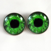 Intense Green Human Sew On Glass Eyes 30mm Buttons with Loop for Crocheted Doll Stuffed Animal Soft Sculptures or Jewellery Making Crafts - Set of 2