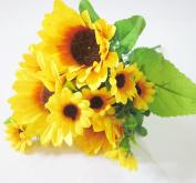 Artificial Sunflower Bouquet Artfen Artificial Silk Flower Plant Home Hotel Office Wedding Party Garden Craft Art Decor 33cm