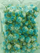 100 ฺLight blue & White Rose Mulberry Paper Flower Scrapbook Wedding Craft 1 cm