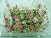 100 Cerise & Chartreuse Rose Mulberry Paper Flower Scrapbook Wedding Craft 1.5cm