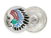 CRAFTMEmore 2.9cm Silver or Bronze Concho Indian Head with Faux Turquoise Screw Back Gaur Rodeo Cowboy Leathercraft Embellishment Pack of 2