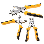 New 3Pcs Leather Belt Hole Punch Plier Eyelet Pliers Tool Kit With 200pcs Parts