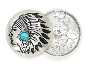 CRAFTMEmore 2PCS 2.9cm Silver Concho Indian Head with Faux Turquoise Screw Back Gaur Rodeo Cowboy Leathercraft Embellishment