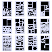 Maxdot 24 Pieces Journal Planner Stencils Template Set for Journal, DIY Drawing, Card, Art Craft Projects, Schedule Book, 18cm by 10cm