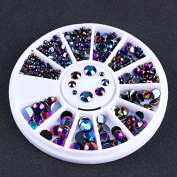 BONNIESTORE Nail Tips 170Pcs/Box Newly Round AB Colour Rhinestone Flat Back Acrylic UV Gel Nail Art DIY Decoration Wheel
