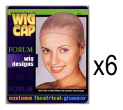 (LOT OF 6) Wig Caps Light Brown