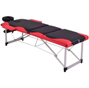 Black And Red 180cm L Portable Massage Table Heavy Duty Aluminium Frame Salon SPA Chair Beauty Height Adjustable Foldable Table Tattoo Parlour Facial Bed Multi Purpose Professional Home Therapy