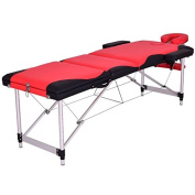 Red And Black 180cm L Portable Massage Table Heavy Duty Aluminium Frame Salon SPA Chair Beauty Height Adjustable Foldable Table Tattoo Parlour Facial Bed Multi Purpose Professional Home Therapy
