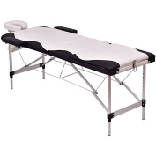 White And Black 180cm L Portable Massage Table Heavy Duty Aluminium Frame Salon SPA Chair Beauty Height Adjustable Foldable Table Tattoo Parlour Facial Bed Multi Purpose Professional Home Therapy