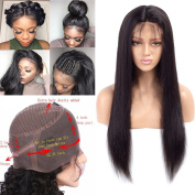 Nobel Hair 150% density 360 Lace Frontal Wigs Pre Plucked Straight Brazilian Remy Human Hair Full Frontal Lace Wigs with Baby Hair for Women Natural Colour 46cm