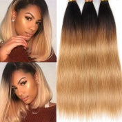 Black Rose T1B 27 Straight Ombre Human Hair Weaves Black to Blonde Hair 3 bundles 8A Grade Peruvian Virgin Hair Weft Extensions Silky Straight Two Tone Hair Weaving 300G