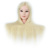 60cm Synthetic Cosmetology Mannequin Training Head with Hair and Free Clamp Holder Bleach Blonde