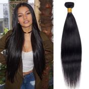Peruvian Virgin Hair 1 Bundles 50G Straight 100% Raw Unprocessed Human Hair Extension Machine Double Weft Silky Straight Wave Peruvian Hair Weaving Natural Black