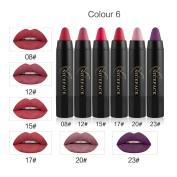 ESCENERY 6Pcs Matte Pencil Lipstick Long-lasting Velvet Crayon Sexy Makeup Set