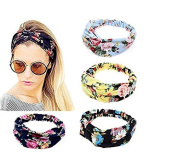 Vellhater 4Pcs Creative Elastic Headbands Printed Fabric Cotton Hair Band for Women