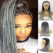 Natural Heat Resistant Fibre Braided Ombre Grey Synthetic Lace Front Wigs Hand-made Braids Hair wig for Black Women