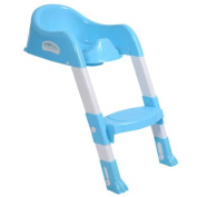 Kid Training Toilet Potty Trainer Seat Chair Toddler W/Ladder Step Up Stool Blue .