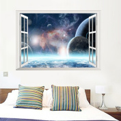 Dragon Honour Outer Space Universe 3D Window Vinyl Mural Wall Sticker Decoration For Kids Room Living Room Bathroom
