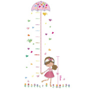 Suiez Colourful Flowers Birds Girl Holding Umbrella Height Sticker, Growth Height Chart Measuring Removable Wall Decal, Children Kids Baby Home Room Nursery DIY Decorative Adhesive Art Wall Mural