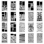 Antner 20 Pcs Plastic Bullet Journal Stencil Set Journal/Notebook/Diary/Scrapbook DIY Drawing Template Stencil, 10cm x 18cm