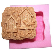 3D Bird house Craft Art Silicone Soap mould Craft Moulds DIY Handmade Candle mould Chocolate Mould moulds
