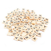 Yalulu 300Pcs Wood Scrabble Tiles, Scrabble Letters Wood Pieces, Great for Crafts, Pendants, Spelling