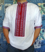 VYSHYVANKA mens Ukrainian Embroidered Shirt Handmade whire Red Linen short sleeve 2XL