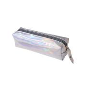 Frcolor Laser Pencil Case Cosmetic Bag Glitter Pen Storage Zipper Closure Portable Pouch for School Students Silver