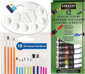 15 Pack of brushes / Paint Palette + Acrylic 12 colour set & Artist mixing palette canvas art tools quality Ready to Paint