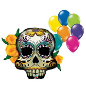 100cm 8pc Day of the Dead Skull Fiesta Party Balloon Assortment Bundle by Fiesta Tribe - Birthday Halloween Party Decorations