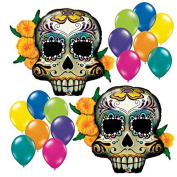 100cm 16pc Day of the Dead Skull Fiesta Party Balloon Assortment Bundle by Fiesta Tribe - Birthday Halloween Party Decorations