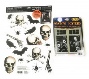 Haunted House Skeleton Horde Window Clings 80cm X 120cm and Boneyard Halloween Cling Decals Kit