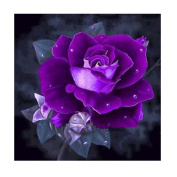 Kixing(TM) Home Bedroom Decor Purple Rose Rhinestone Pasted DIY 5D Diamond Painting Cross Stitch