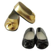 46cm AG Doll Shoes,Kids Girls Doll Toy Golden & Black Slip On Bow Leather Shoes Fits 46cm American Girl Dolls