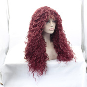 New Arrivel Synthetic Lace Front Wig Heat Resistant Kinky Curly Black Highlights Heavy Density Wig For Black Women