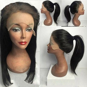 Virgin Hair Human Lace Front Wig Brazilian Remy Human Straight Remy Hair Full Lace Wigs with Baby Hair For African Americans 130% Density Natural Colour