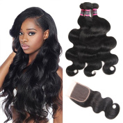 Urbeauty 8A Brazilian Virgin Hair 3 Bundles with Closure Body Wave Hair 100% Unprocessed Human Hair Weave With Lace Closure Free Part 18 20 22 with 16