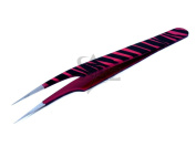 Stainless Steel Jeweller Style Tweezers #8 Pink Black Zebra Colour Fine Point