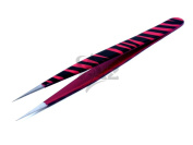 Stainless Steel Jeweller Style Tweezers #3 Pink Black Zebra Colour Fine Point