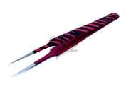 Stainless Steel Jeweller Style Tweezers #5 Pink Black Zebra Colour Fine Point