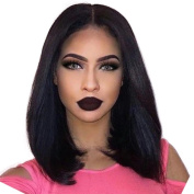 Oulaer Silky Straight Bob Wigs Human Hair Lace Front Bob Wigs Glueless Brazilian Virgin Human Hair Wigs For Black Woman Middle Part 13x 6 Long Parting Natural Colour 36cm Lace Front Wig